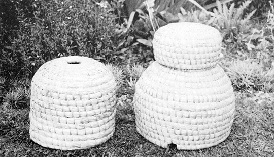 Three skeps made by George Hawthorne by the method described