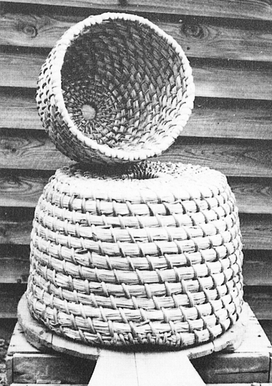 New skep, on wooden base, with smaller skep used as super (by courtesy of National Federation of Young Farmers' Clubs)