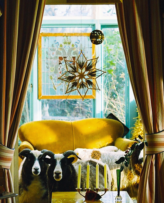 Mike, a man of many talents including music and art, had an empathy with animals. Here, two of the family's Jacob sheep stand beneath the stained glass star designed by Mike