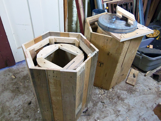 The hexagonal outer shell protects a cylindrical cavity for the bees.