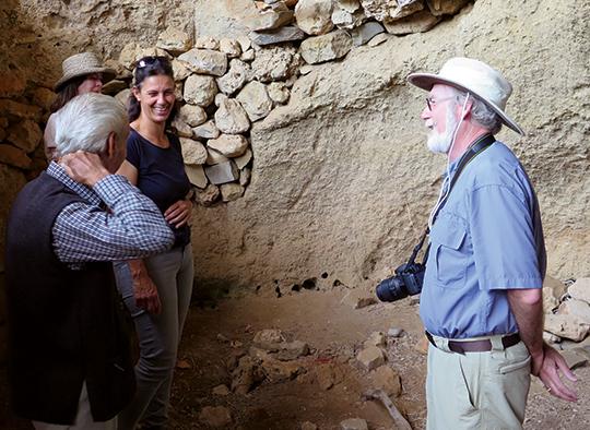 In the beekeeper's cave. L - R, Jessee, Gene's wife, IannisMarabeas(beekeeper), IriniMarabeas, daughter-in-law (beekeeper), Gene Kritsky.