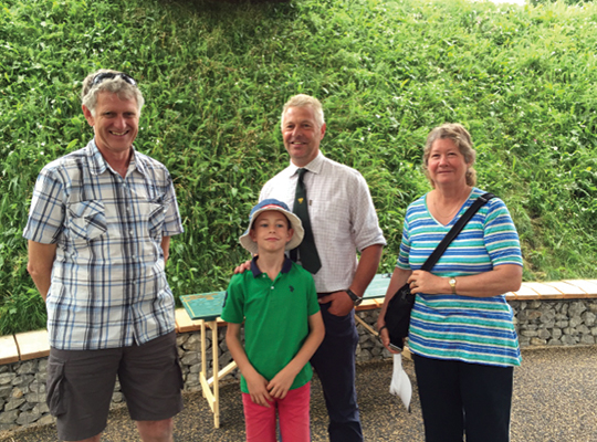 Visitors from far and wide: BFA Pollination Officer Alan Hart and his son Seth meet Cyril and Lee O'Callaghan from New Zealand at the Hive at Kew Gardens