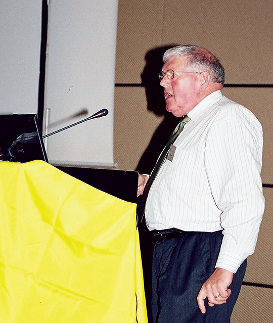 Dr Peter Nolan addressing delegates at the First International Apitherapy Conference in Athens, Greece. (John Phipps).